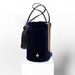 Mini sac Maia, bleu nuit, finitions métal doré