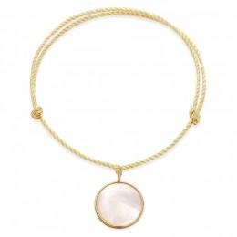 Bracelet avec un médaillon en nacre avec bordure d'or poinçon 585 sur un cordon épais doré premium
