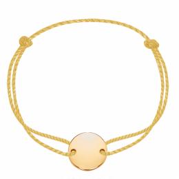 Bracelet avec un médaillon plaqué or sur un cordon épais doré premium