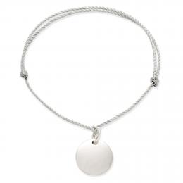 Bracelet avec un médaillon sur un  cordon argenté épais premium