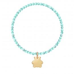 Bracelet Uranus en pierres naturelles avec un ourson plaqué or