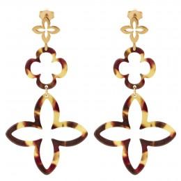 Boucles d'oreilles modulables en résine avec un lys plaqué or
