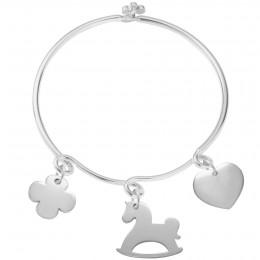 Bracelet Monica avec un trèfle en argent, un cheval à bascule et un cœur