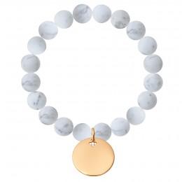 Bracelet Lune en pierres naturelles avec un médaillon plaqué or