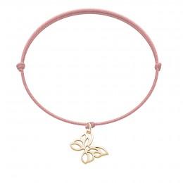 Bracelet avec un papillon plaqué or ajouré sur un cordon fin rose