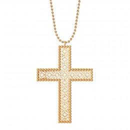 Collier avec croix Barok 6,5 cm sur chaine maille boule, plaqué or