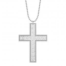 Collier avec croix Barok 6,5 cm sur chaine maille boule, plaqué argent
