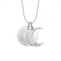 Collier Lune argent avec un médaillon en nacre sur une chaîne fine classique