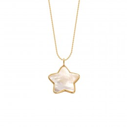 Collier avec une étoile en nacre avec bordure d'or poinçon 585