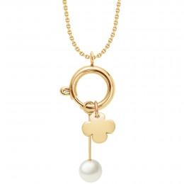 Collier-fermoir bijou, pendentif perle et trèfle rond, plaqué or