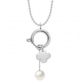 Collier-fermoir bijou, pendentif perle et trèfle rond, argent