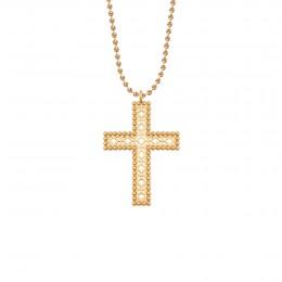 Collier avec croix Barok 4,5 cm sur chaine maille boule, plaqué or