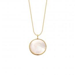 Collier avec un médaillon en nacre avec bordure d'or poinçon 585