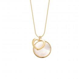 Collier avec un cœur or ajouré et un médaillon en nacre dans un cadre or poinçon 585