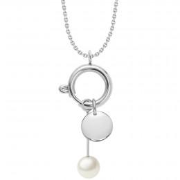 Collier-fermoir bijou, pendentif perle et médaillon, argent