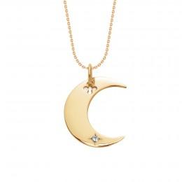 Collier Lune plaqué or sur une chaîne fine classique
