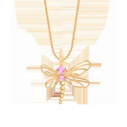 Collier Libellule avec zircon rose