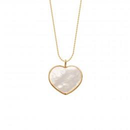 Collier avec un cœur en nacre avec bordure d'or poinçon 585