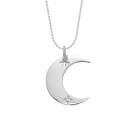 Collier Lune en argent sur une chaîne fine classique
