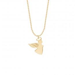 Collier avec ange aile ajourée 1,5 cm sur chaîne fine classique, plaqué or