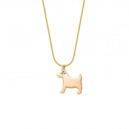 Collier avec chien plaqué or sur un cordon fin orange fluo