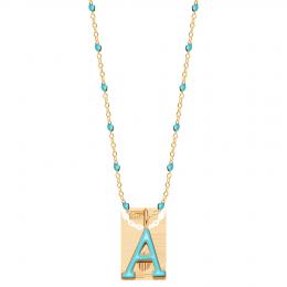 Collier avec lettre, émail turquoise, plaqué or