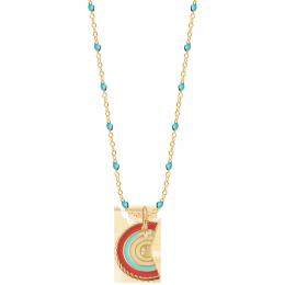 Collier émail turquoise et pendentif Rainbow, plaqué or