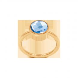 Bague avec quartz bleu, plaqué or