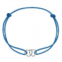 Bracelet avec deux cœurs joints ajourés plaqués or sur un cordon épais bleu premium