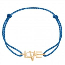 Bracelet avec un LOVE plaqué or sur un cordon épais bleu premium