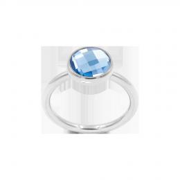 Bague avec quartz bleu, plaqué argent