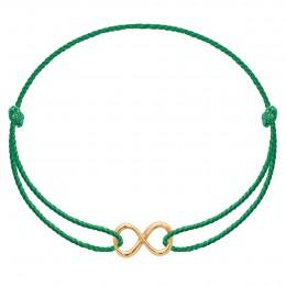Bracelet avec un signe de l'infini plaqué or sur un cordon épais vert premium