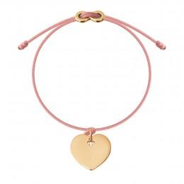 Bracelet avec coeur plaqué or et fermoir Infinity sur cordon fin rose