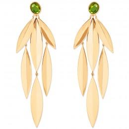Boucles d'oreilles Olive avec quartz vert, plaqué or