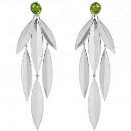 Boucles d'oreilles Olive avec quartz vert, plaqué argent