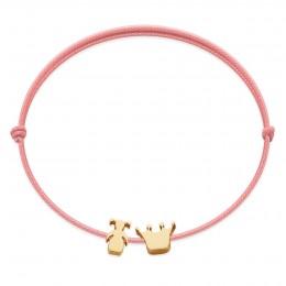 Bracelet avec une fille plaquée or et une couronne Etincelle, sur un cordon fin rose