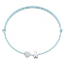 Bracelet avec un cœur en argent et un bébé Etincelle, sur un cordon fin bleu