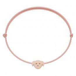 Bracelet avec chien Etincelle plaqué or rose, sur cordon fin rose