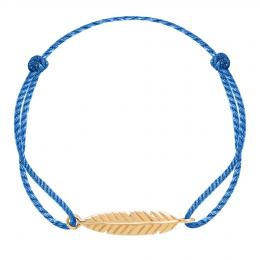 Bracelet Plume plaqué or sur un cordon épais bleu premium