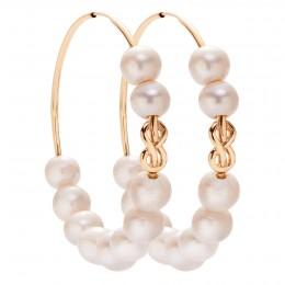 Boucles d'oreilles Eternity de 5 cm en argent plaquées or avec des grandes perles blanches