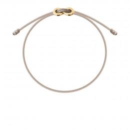 Bracelet avec fermoir Infinity plaqué or sur cordon fin beige
