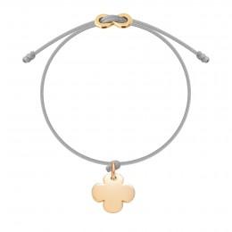 Bracelet avec trèfle rond plaqué or et fermoir Infinity sur cordon fin gris clair