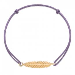 Bracelet Plume plaqué or sur un cordon fin bleu lavande