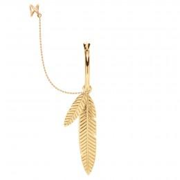 Boucle d'oreille Plume droite plaquée or avec chaine