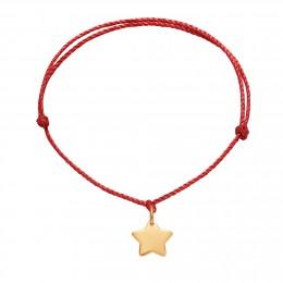 Bracelet avec une étoile plaquée or sur un cordon épais rouge premium