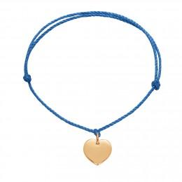 Bracelet avec un cœur plaqué or sur un cordon épais bleu premium