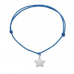 Bracelet avec une étoile en argent sur un cordon épais bleu premium