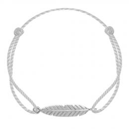 Bracelet Plume en argent sur un cordon épais argenté premium