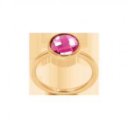 Bague avec quartz rose, plaqué or