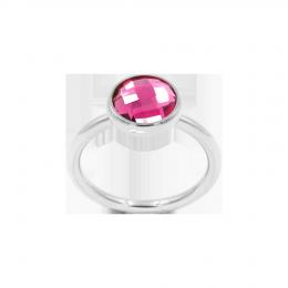 Bague avec quartz rose, plaqué argent